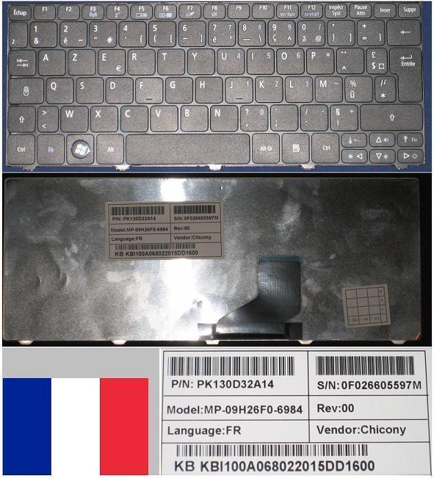 Clavier Azerty Francais GATEWAY LT21 532H D260 MP-09H26F0-6984 KB.I100A.068 Noir