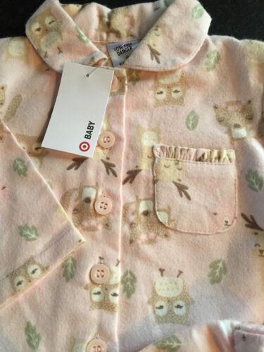 BNWT Baby Girls Sz 0 Pink//Animals Long Style Flannel Winter Style PJ Pyjamas