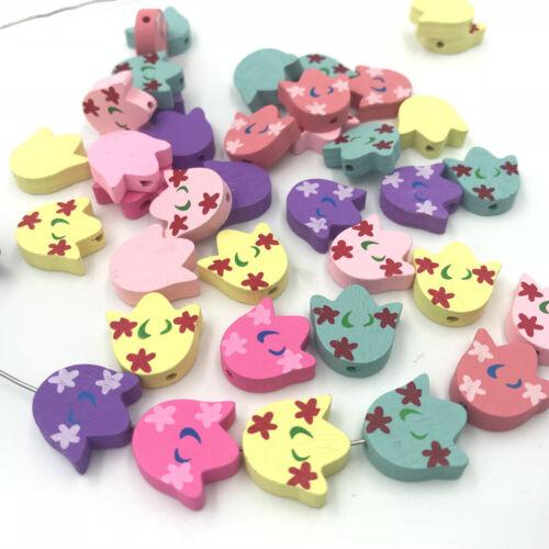 En Bois Perles Mixte Couleur tulipe fleurs pour bébé Crafts /& Sucette Clip Collier À faire soi-même
