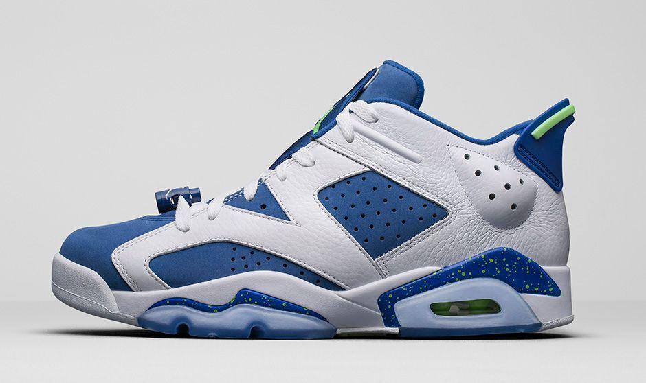 2015 Nike Air Jordan 6 VI Retro Low Seahawks Size 12. 304401-106 1 2 3 4 5
