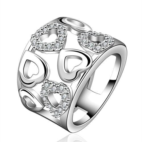 Anillo plata circonita cristal anillo de compromiso amor corazón señora regalo 925