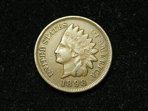 JUST-IN-VF-1898-INDIAN-HEAD-CENT-PENNY-w-FULL-LIBERTY-amp-SOME-DIAMONDS-52s