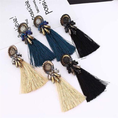 Vintage Women Simple Long Tassel Fringe Crystal Drop Dangle Earrings Jewelry