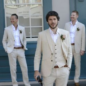 Wedding Attire For Men.Details About Ivory Beige Beach Linen Suits Men Wedding Suit Summer Marriage Groom Tuxedo