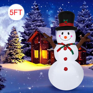 5Ft-Christmas-Inflatable-Snowman-With-Sign-Blow-Up-LED-Lights-Outdoor-Yard-Decor
