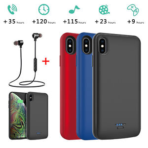 pretty nice ba80e 45dc4 Details about For iPhone X/XR/XS Max Battery Charging Case Power Bank  Backup Charger + Headset