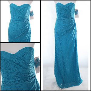 Details About Davids Bridal Womens Dress 10 Lace Bridesmaid Long Strapless Malibu Blue W10329