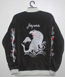 fluwelen Vintage borduurwerk tijger jas Souvenir witte Japan Sukajan Yakuza SMqpGzUV