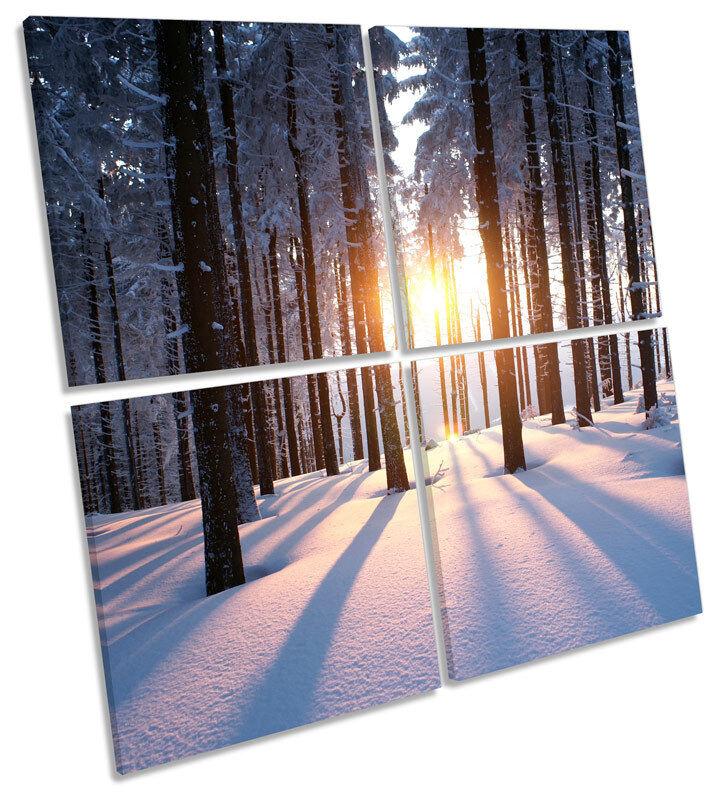 Sunset Snow Forest Landscape CANVAS WALL ART ART ART MULTI Square Print a7877d