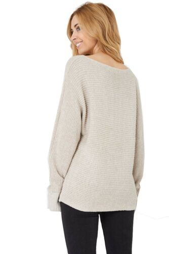 Ladies Womens Beige Ribbed Knit Pullover Relaxed Fit Sweater Jumper.Sizes:UK8-16