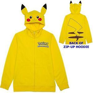 Pokemon Pikachu Zip Up Costume Hoodie 4 5 6 7 8 10 12 14 16 Childs Sweatshirt