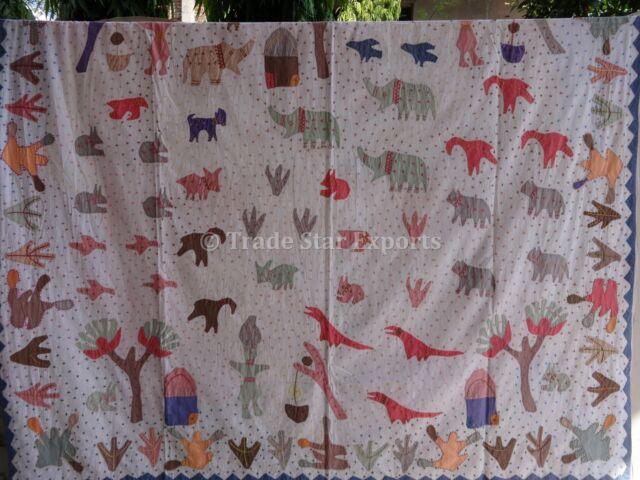 Indian Village Theme Patchwork Bedspread Ethnic Kids Boho Bedding Cotton Throw