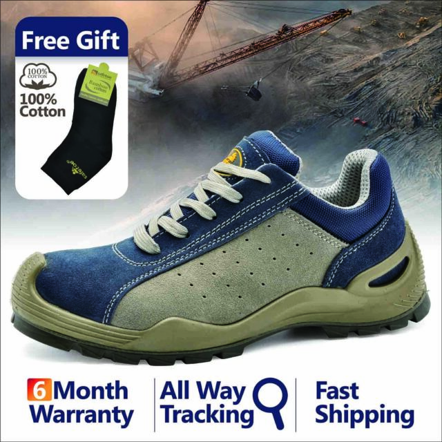 3f76ec0a9bc Safetoe Safety Work Shoes Mens Boots Blue Breathable Steel Toe Lace-up  L-7295