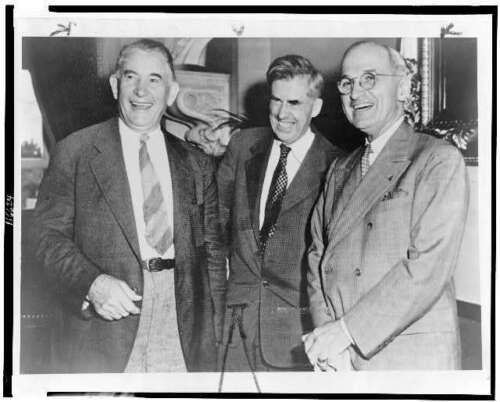 Truman,1944,Meeting inside Capitol Alben Barkley,Henry A Wallace,Harry S