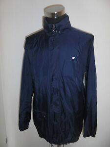 vintage-CHAMPION-Nylon-Regenjacke-oldschool-windbreaker-90s-rain-jacket-blau-L