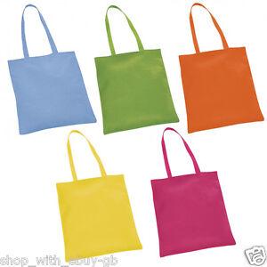 10 Paquet 100% Coton Couleurs Vives Shopping Épaule Sac Fourre-tout Sacs