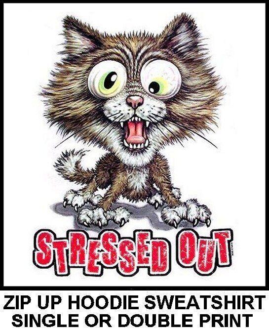VERY COOL CRAZY WILD STRESSED OUT SCAROTY CAT ART ZIP HOODIE SWEATSHIRT 727