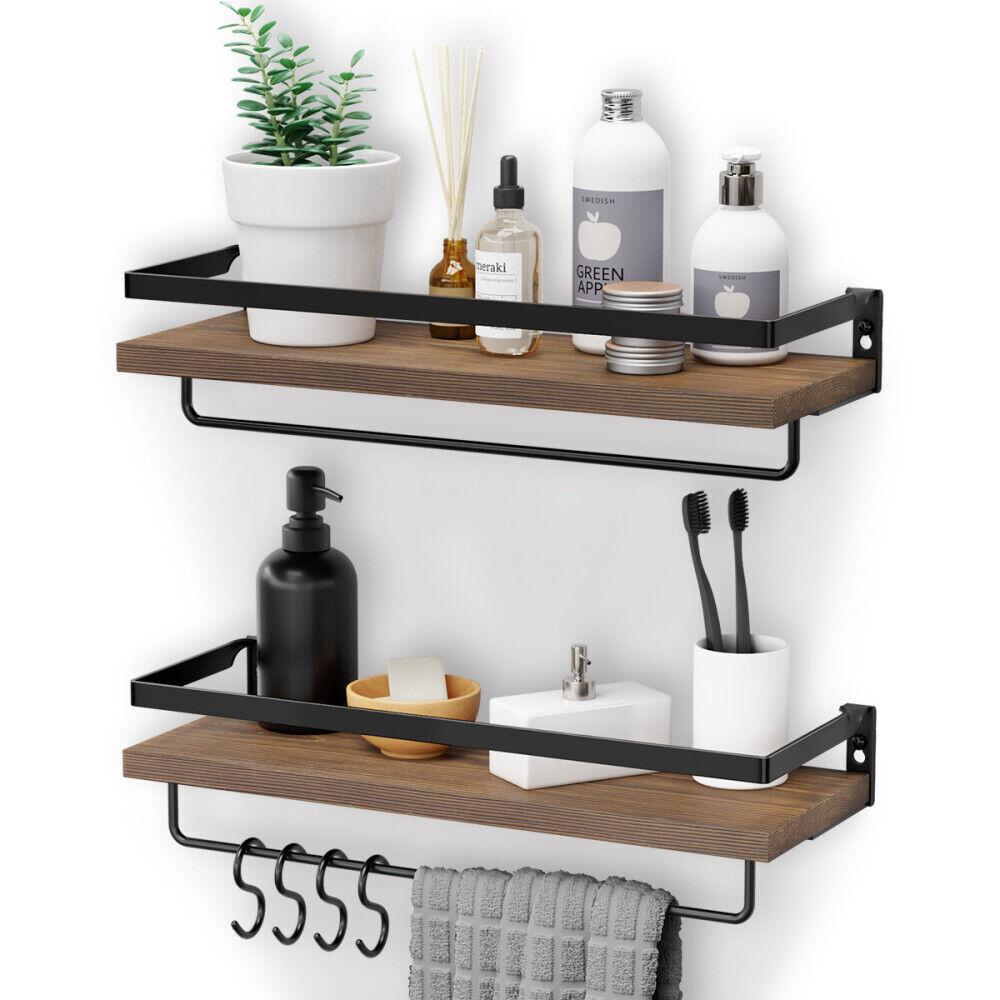2 Pcs Floating Shelves Wall Rustic Wood, Wood Shelves Bathroom