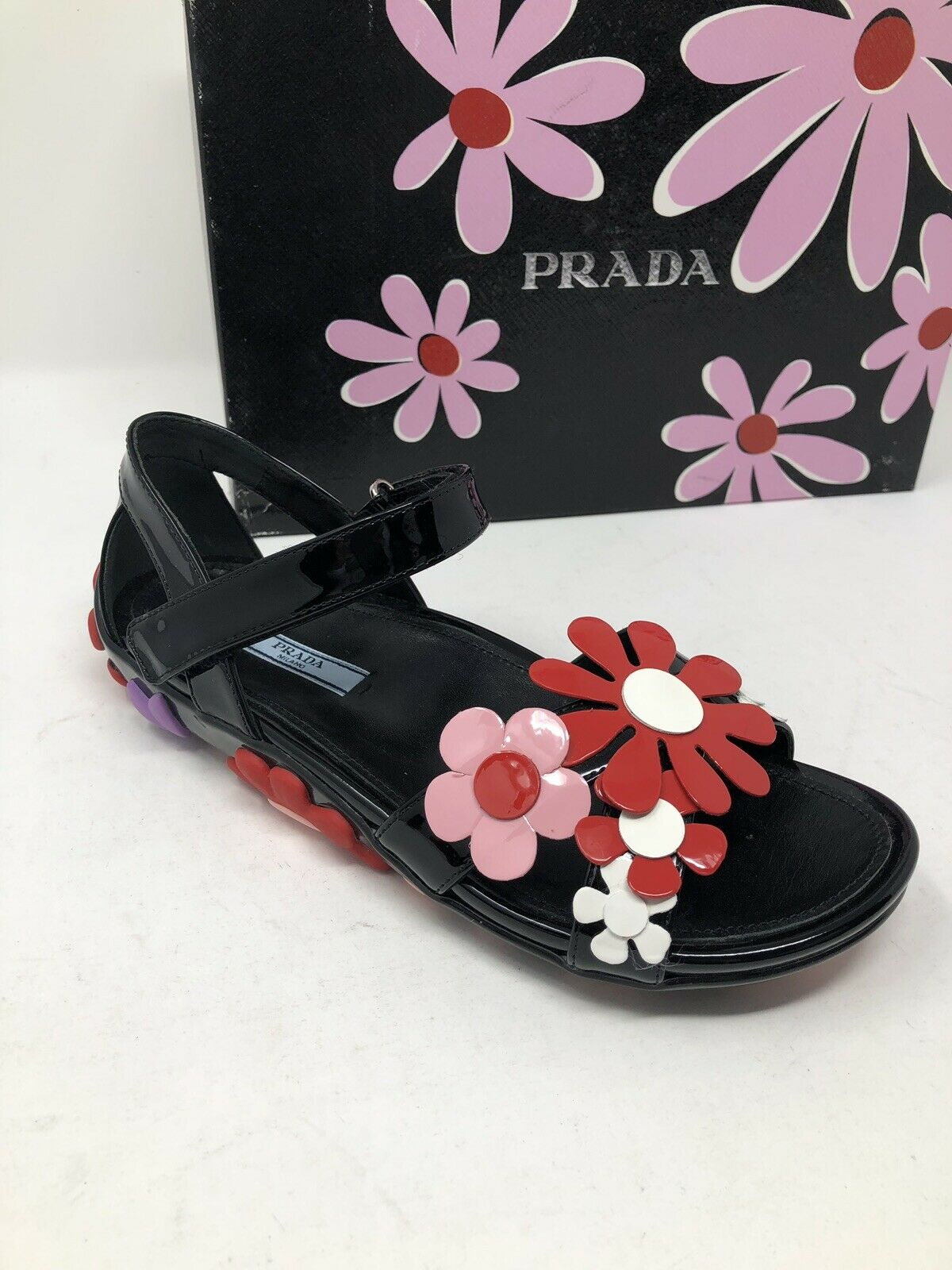 620 New PRADA Womens Black shoes Ladies Flower Sandals Size 6 US 36 EU