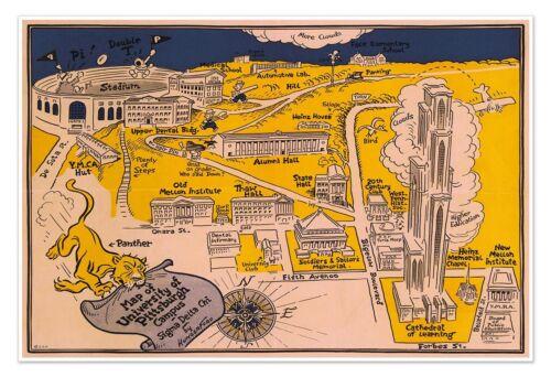"Pennsylvania USA circa 1935 24/"" x 36/"" University of Pittsburgh Campus Area MAP"
