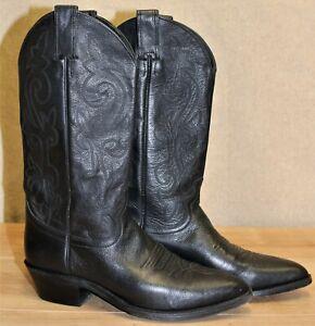 Bottes femme western santiag JUSTIN BOOTS cuir noir 8D US 6,5 UK 40 EUR 25,7 cm