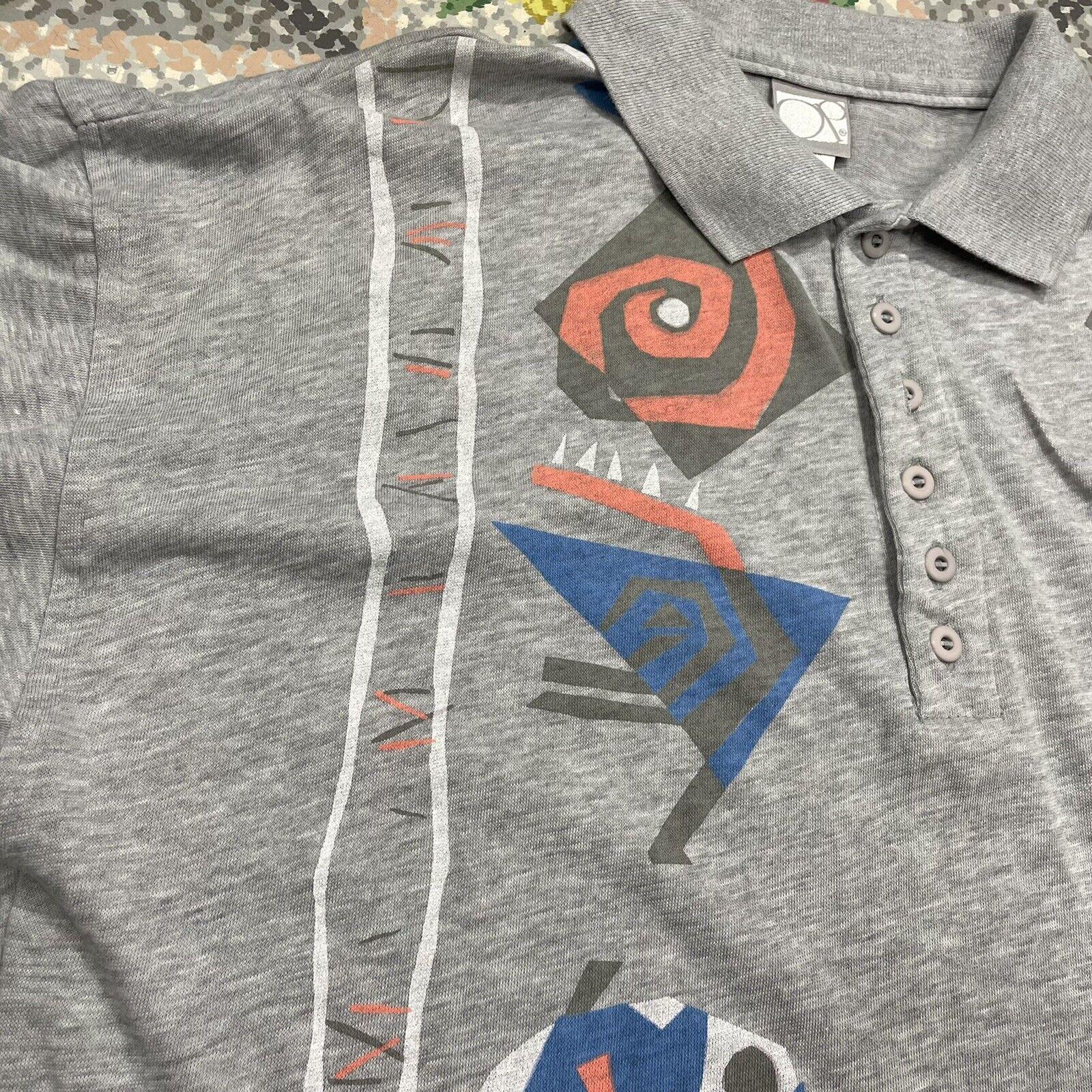 Vintage 80s Ocean Pacific Gray Polo Tribal Design… - image 4