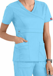 256df9e45ce Dickies Medical Scrubs Women's Gen Flex Icy Turquoise Mock Wrap Top ...