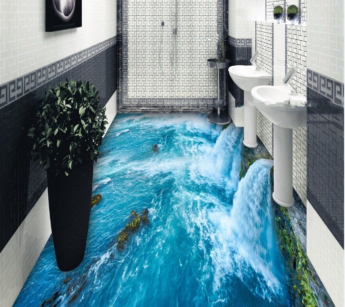 3D Blau Waterfall 88 Floor WallPaper Murals Wall Print Decal AJ WALLPAPER US