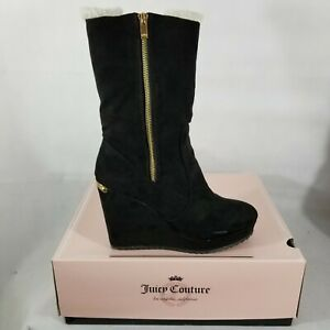 6d5530c2d6e NEW JUICY COUTURE Boots KASIA Fold Over Lined Platform Wedge Black ...
