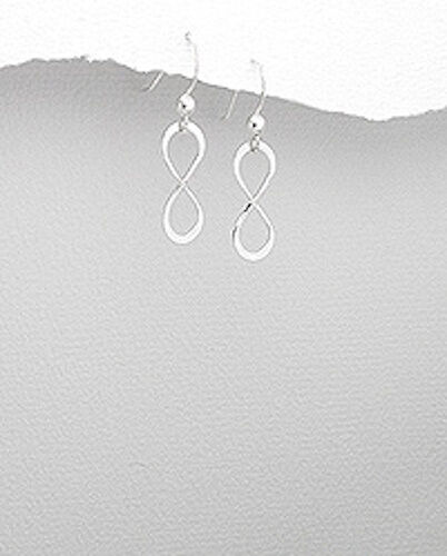 1.06 G SOLID STERLING SILVER Infinity Dangle Boucles d/'oreilles 29 mm belle