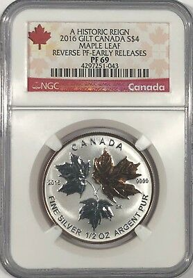 2014 NGC PF69 $4 CANADA SILVER MAPLE LEAF GOLD GILT REVERSE PROOF