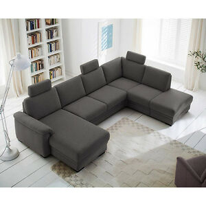 wohnlandschaft ks 5218 ecksofa in grau mit bettfunktion und bettkasten ebay. Black Bedroom Furniture Sets. Home Design Ideas