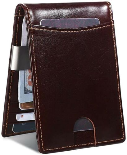 Minimalist Slim Wallet For Men With Money Clip Bifold Rfid Blocking Front Pocket