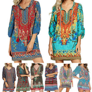 Women-Bohemian-Neck-Tie-Vintage-Floral-Printed-Ethnic-Style-Summer-Shift-Dress