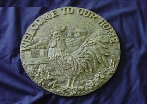 Welcome Rooster Stepping Stone Plaster or Concrete Mold 1010 Moldcreations