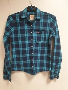 Ee386-Damen-Hollister-blau-kariert-fitted-L-Langarm-Shirt-UK-S-8