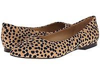 Trotters Women's Estee Tan Cheetah Calf Hair Pointed Flat, Multiple Sizes