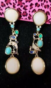 Betsey-Johnson-colorful-Alloy-Rhinestone-Dolphi-Dangle-Earrings-Fashion-Jewelry