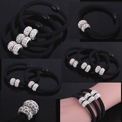 Fashion Crystal Ball Elastic Hair Band Rope Scrunchie Ponytail Holder Bracelet