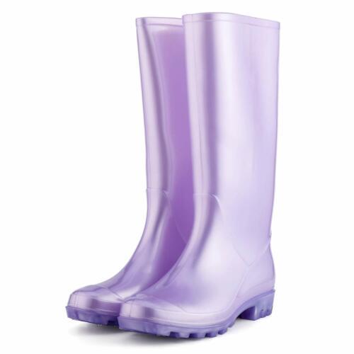 KomForme Women' s Knee High Waterproof Rain Boots Glitter Matte and Gradient