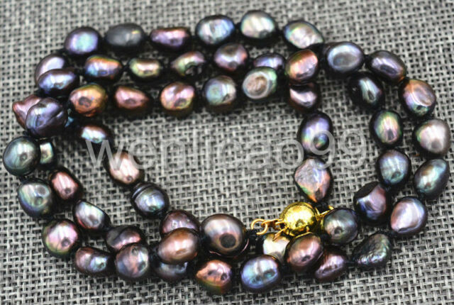 """Rare! 8-9MM black Akoya freshwater Cultured Pearl Baroque Necklace 18"""""""
