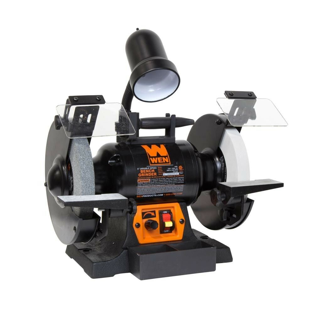 Wen Bench Grinder with Work Light Corded Variable Speed Cast Iron 5-Amp 8 in.