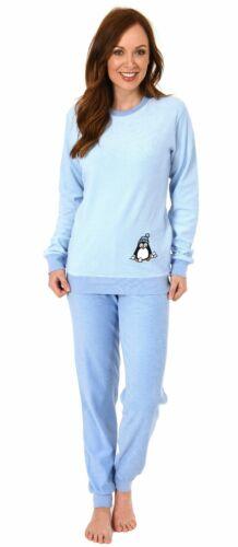 Pinguin Motiv 29120113564 Damen Frottee Pyjama langarm Schlafanzug mit Bündchen