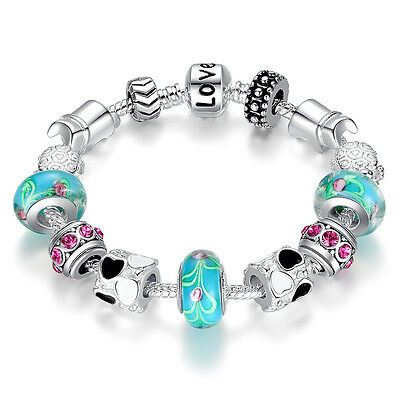 Christmas Gift BLUE LOVE DIY Charms Beads Silver Bracelets Women Fashion Jewelry