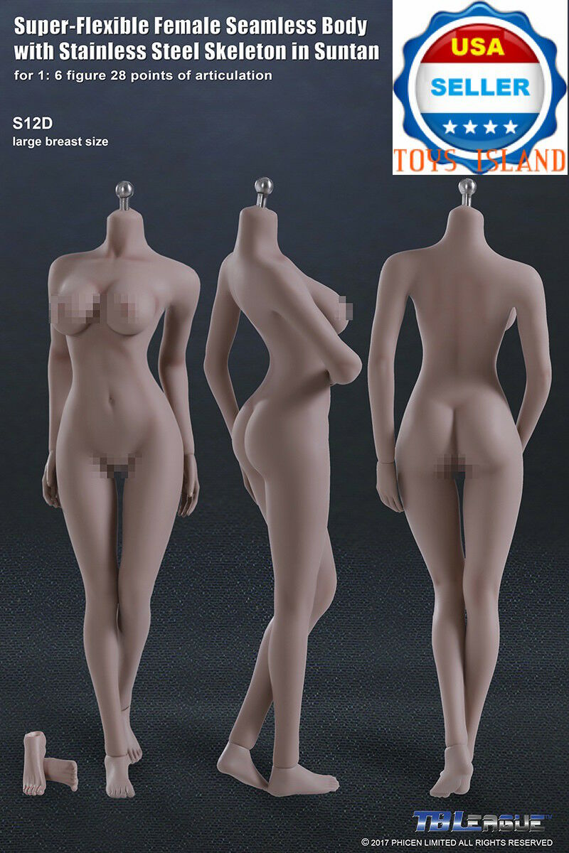 1 6 Phicen S12D hembra sin costuras bronceado figura Cuerpo L Busto Acero Esqueleto TBL Usa