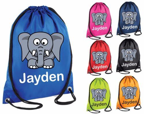 Personalised Elephant Gym Bag Swim Nursery Drawstring School PE Kit Sports Kids