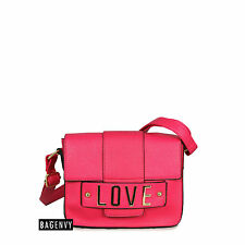 Bag Envy Womens Hot Pink Love Letter Logo Shoulder Cross Body Bag