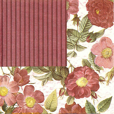4x Paper Napkins for Decoupage Decopatch Craft Harmony flowers