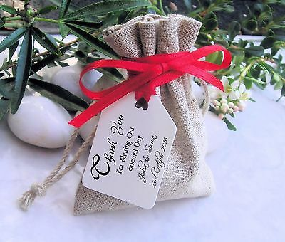 70 Personalised Printed Wedding Favour Gift / Luggage Tags Labels With Ribbon