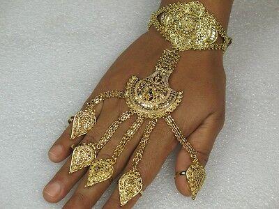Indische Doppel Handschmuck mit ring Sklavenarmband Bauchtanz Hochzeit Schmuck